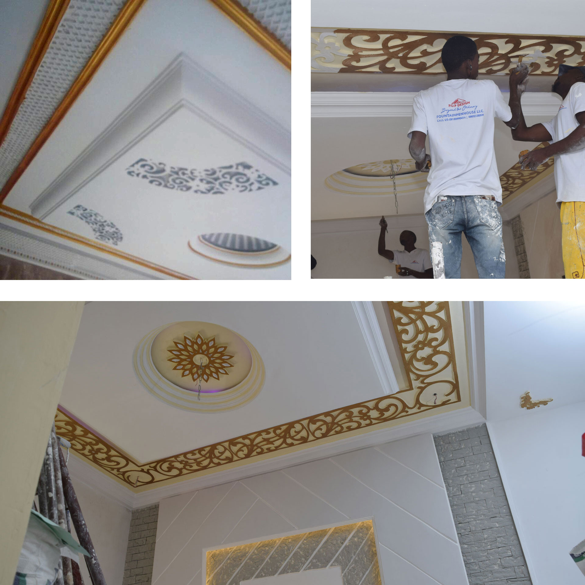 We also paint the designs to give it an excellent finishing using gold silver ash bronze etc thats not all we give your ceilings